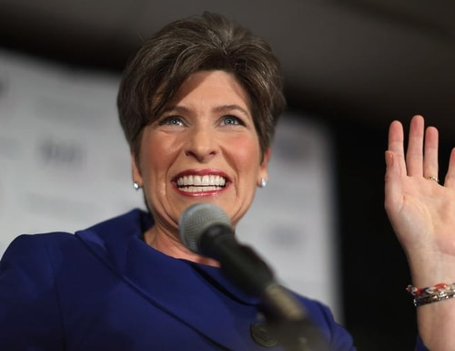 WEST DES MOINES, IA - NOVEMBER 04: Republican U.S. Senator-elect Joni Ernst thanks her supporters after she won the U.S. Senate race on election night at the Marriott Hotel November 4, 2014 in West Des Moines, Iowa. Ernst and her opponent Democrat Rep. Bruce Braley (D-IA) were locked in a months-long campaign battle that had them tied in the polls going into election day. (Photo by Chip Somodevilla/Getty Images)