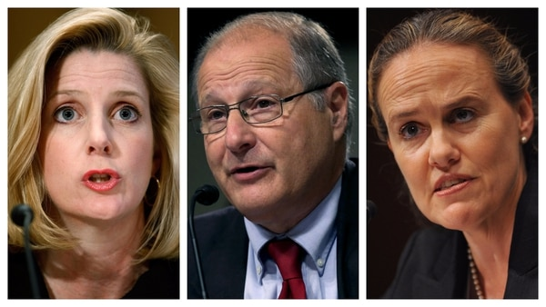 From left, Christine Wormuth, Eric Edelman and Michele Flournoy all served as the Pentagon's undersecretary of defense for policy at a point during their respective professional careers. (Chip Somodevilla/Getty Images; Alex Wong/Getty Images; Mandel Ngan/AFP via Getty Images)