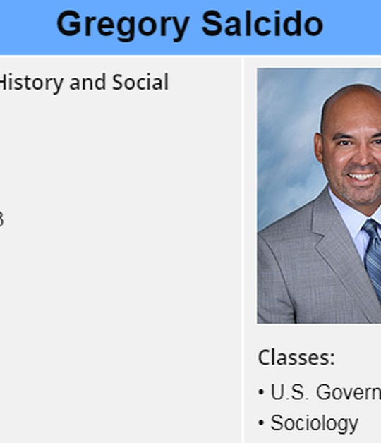 Gregory Salcido's staff profile from the El Rancho High School website. (Screenshot)