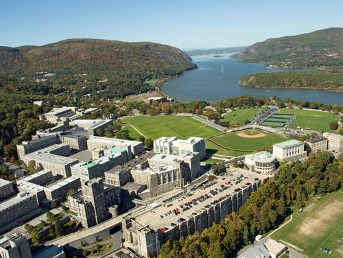 An aerial view of West Point, the U.S. Military Academy, is seen Oct. 11, 2008. (West Point)