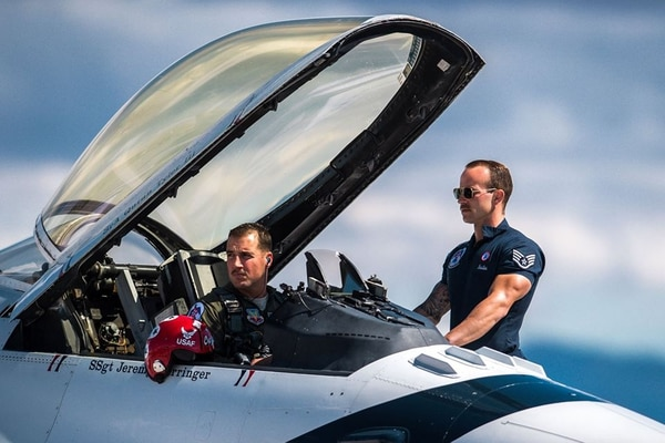 Maj. Stephen Del Bagno and his crew chief, Staff Sgt. Michael Meister, await the signal to start their F-16 Fighting Falcon during a practice show at Nellis Air Force Base March 14. Del Bagno was killed April 4 when his F-16 crashed during training. (Master Sgt. Christopher Boitz/Air Force)