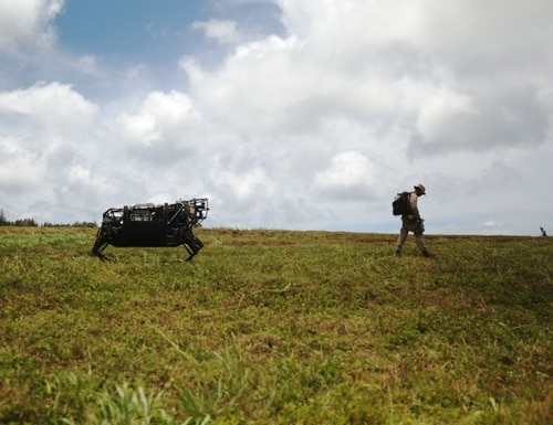 The Legged Squad Support System, a BigDog relative, was tested by the Marine Corps in 2014. Legged robot iteration and innovation has progressed since then. (Sarah Dietz/Marine Corps)