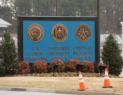 A sign for the National Security Agency (NSA), US Cyber Command and Central Security Service, is seen near the visitor's entrance to the headquarters of the National Security Agency. (Saul Loeb/AFP/Getty Images)