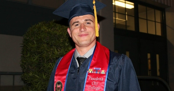 Marine veteran Nathan Kemnitz graduated from Pasadena City College in 2013. Now a Ph.D. student at the University of Southern California, he credits his academic success to PCC's veteran programming. (Pasadena City College)