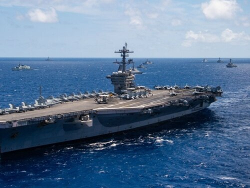 The carrier Carl Vinson will head to Bremerton, Wash., as part of a three-carrier home port swap the Navy announced this week. (Navy)