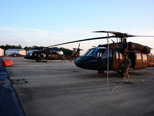 Virginia National Guard flight crews load up UH-60 Black Hawk helicopters Aug. 31, 2017. (Sgt. 1st Class Terra C. Gatti/Army National Guard)