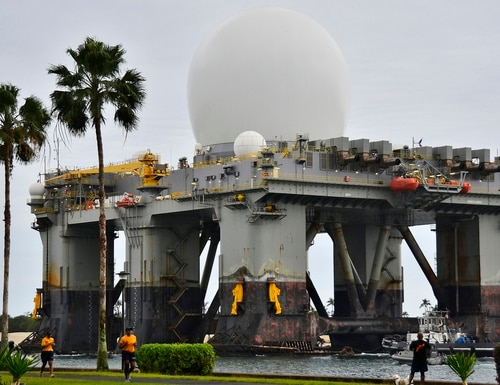 The Sea-based, X-band Radar (SBX 1) at Joint Base Pearl Harbor-Hickam in 2013. The SBX is a combination of the world's largest phased-array X-band radar carried on board a mobile, ocean-going semi-submersible oil platform. (Navy)