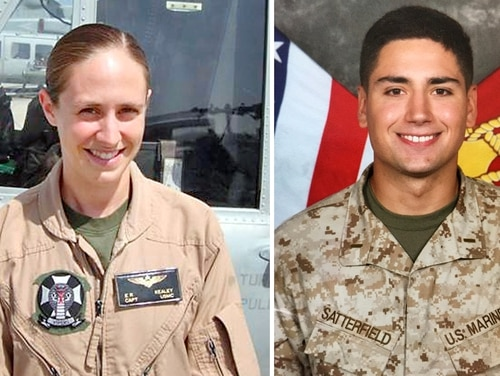 Capt. Elizabeth Kealey, left, and 1st Lt. Adam Satterfield, right, were killed when their UH-1Y Venom helicopter crashed during a training exercise at Marine Corps Air Ground Combat Center Twentynine Palms, Calif., Jan. 23. Credit: Marine Corps