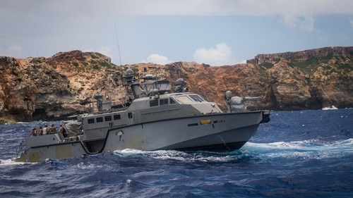 A Mark VI patrol boat operates off Guam. Ukraine is buying up to 16 o the heavily armed patrol boats, part of a larger program to strengthen Ukrainian maritime forces. (US Navy photo)