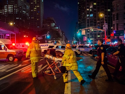 In this Sept. 17, 2016 file photo, first responders work near the scene of an explosion in Manhattan's Chelsea neighborhood, in New York. (AP Photo/Andres Kudacki, File)