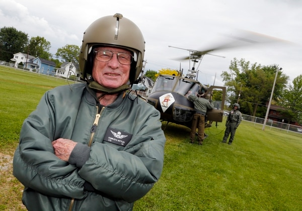 Charles Kettles during an honor flight aboard a UH-1 Huey, like the one he few during the battle for which he was awarded the Medal of Honor. (Army)