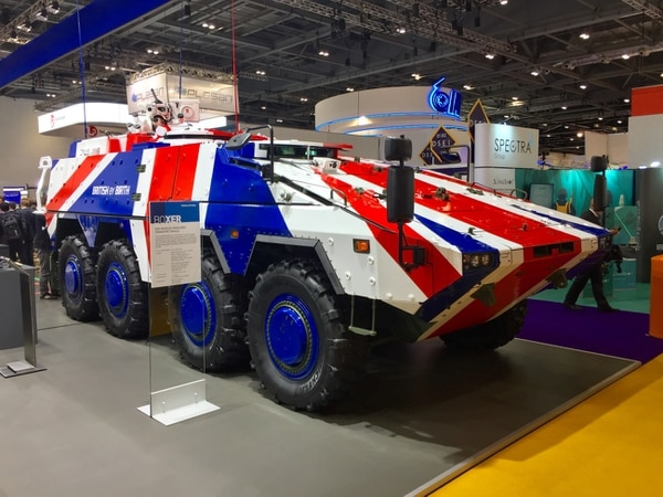 A Boxer vehicle painted with the Union Jack. (Alan Lessig/Staff)