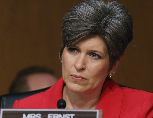 WASHINGTON, DC - JANUARY 21: U.S. Sen. Joni Ernst (R-IA), participates in a Senate Armed Services Committee hearing on Capitol Hill, January 21, 2015 in Washington, DC. The committee was hearing testimony from former National Security Advisor's regarding global challenges and United States national security strategy. (Photo by Mark Wilson/Getty Images)