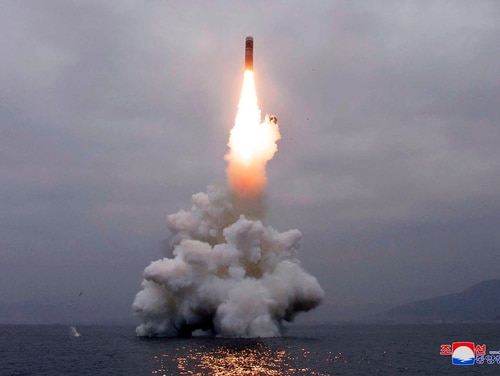 In this Oct. 2, 2019, photo, an underwater-launched missile lifts off in the waters off North Korea's eastern coastal town of Wonsan, North Korea. Korean Central News Agency/Korea News Service via AP)
