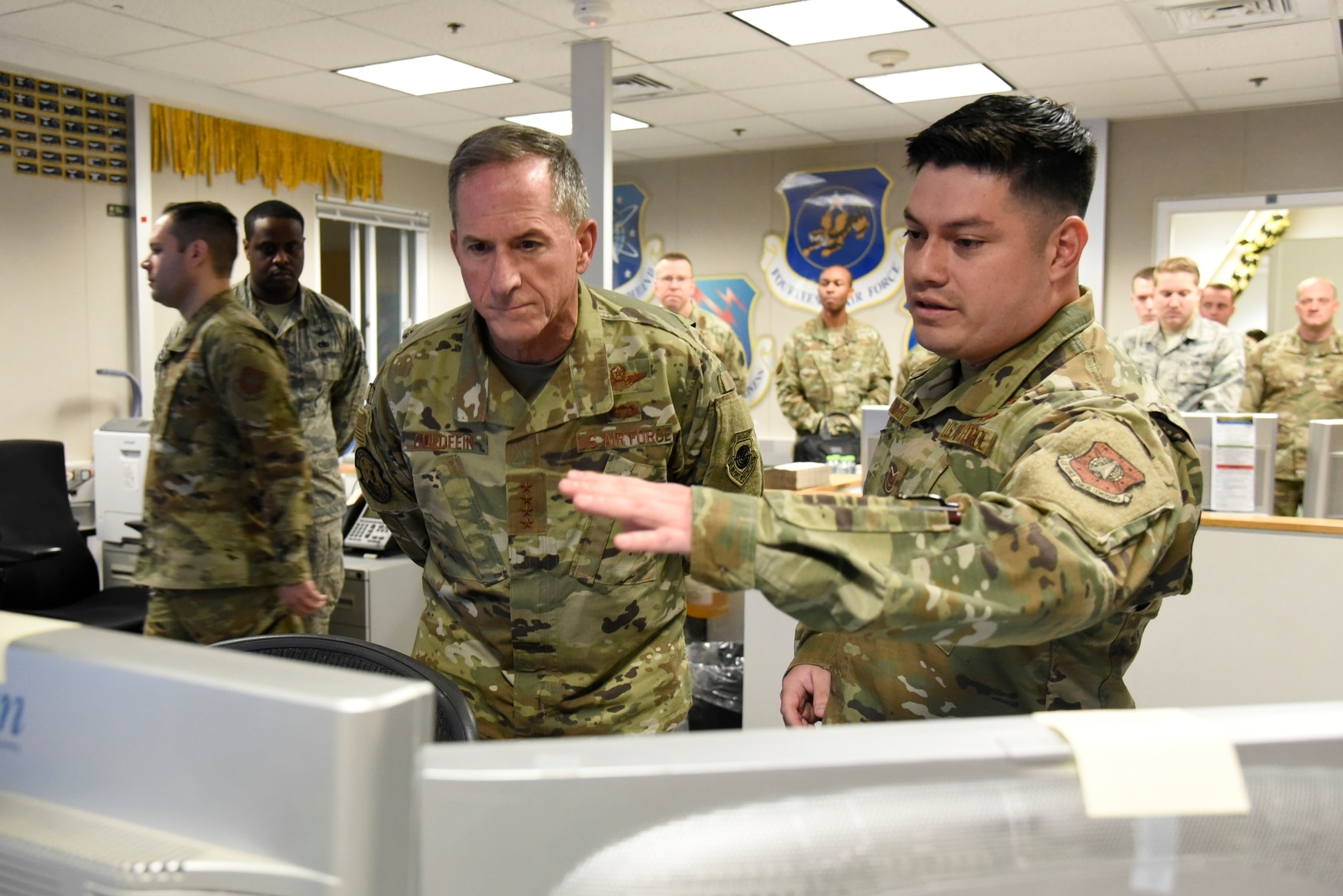 U.S. Air Force Chief of Staff Gen. Dave Goldfein is briefed by an airman from the 12th Space Warning Squadron at Thule Air Base, Greenland, on July 20, 2019. Defense News accompanied Goldfein on his first visit to the base. (Staff Sgt. Alexandra M. Longfellow/U.S. Air Force)