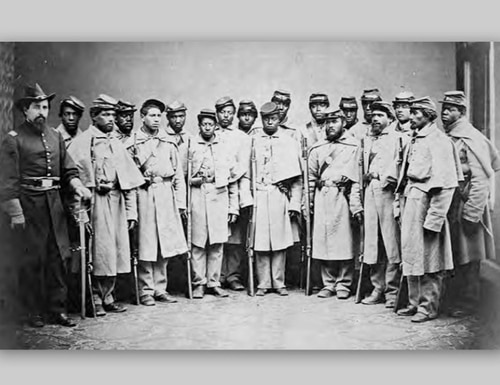 A range of emotions from uncertainty to truculence plays on the faces of these Philadelphia recruits in early 1864. Their regiment, the 25th U.S. Colored Infantry, sailed soon afterward for the Gulf of Mexico, where it formed part of the garrison of New Orleans, and later of Pensacola. (Army)