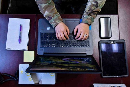 The Commercial Virtual Remote Environment allows users to work without a virtual private network connection. (Airman 1st Class Kiaundra Miller/U.S. Air Force)