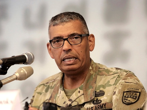 U.S. Gen. Vincent Brooks commander of the United Nations Command, U.S. Forces Korea and Combined Forces Command, speaks during a press conference at the Seoul Foreign Correspondents Club in Seoul, South Korea, Wednesday, Aug. 22, 2018. (Ahn Young-joon/AP)