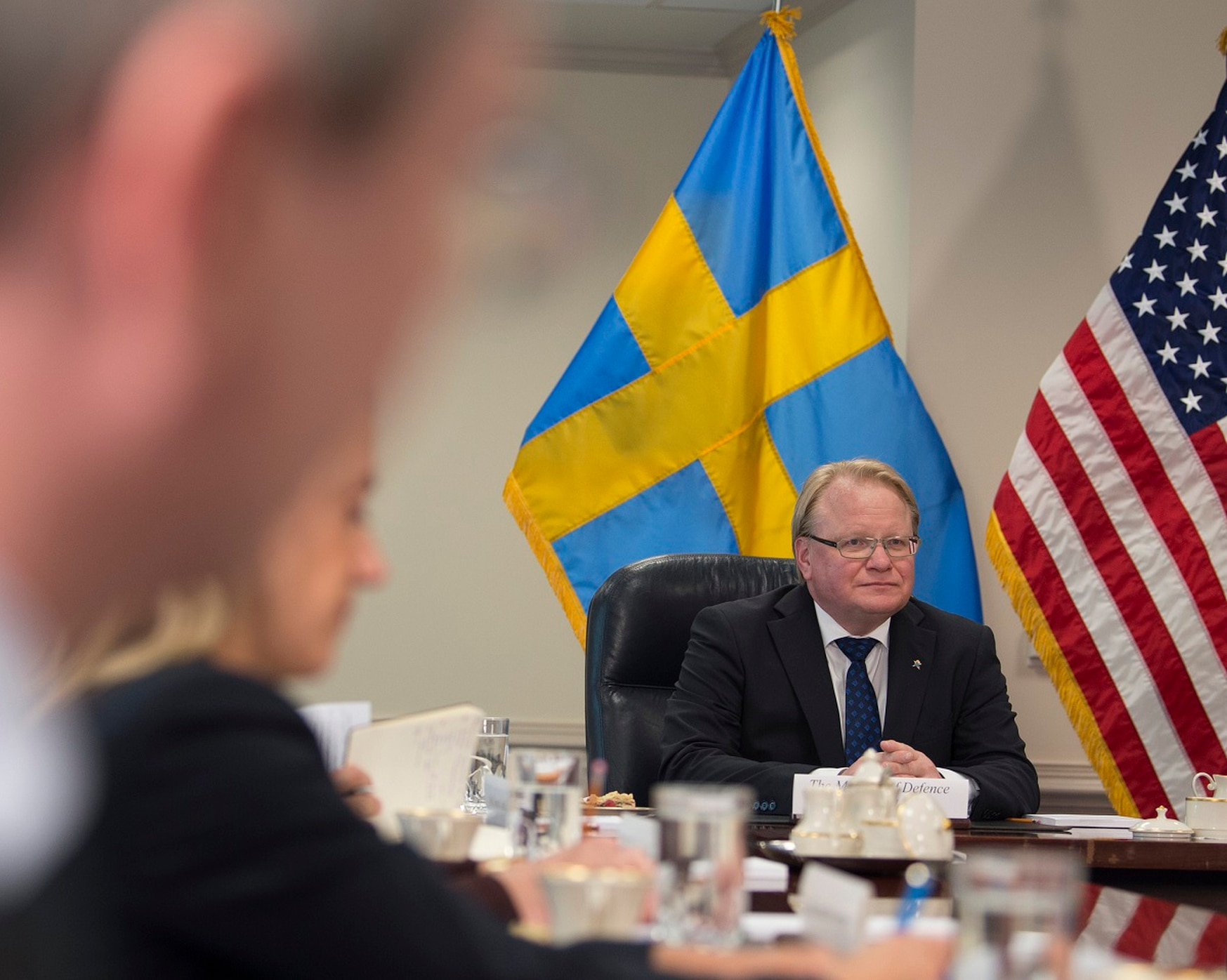 Peter Hultqvist, Sweden's Minister of Defense, has asked Secretary of Defense Mark Esper to keep the U.S. in the Open Skies Treaty. (DoD/Kathryn E. Holm)