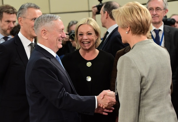 US Defence Minister James Mattis (2L), NATO Secretary General Jens Stoltenberg (L), Netherlands' Defence Minister Jeanine Hennis-Plasschaert (C) and Italian Defence Minister Roberta Pinotti attend a NATO defence ministers meetings at NATO headquarters in Brussels on February 15, 2017. Mattis hailed NATO as the