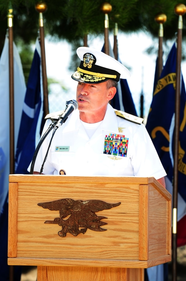 Rear Adm. Brian L. Losey, then-commander of Naval Special Warfare Command, delivers remarks during the Naval Special Warfare Group 1 change of command ceremony at Naval Amphibious Base Coronado on June 28, 2013. Capt. Todd J. Seniff relieved Capt. Collin P. Green as the commander of NSWG-1. (Mass Communication Specialist 1st Class John R. Fischer/Navy)