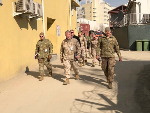 Marine Gen. Frank McKenzie, center, top U.S. commander for the Middle East, makes an unannounced visit, Friday, Jan. 31, 2020 in Kabul, Afghanistan. (Lolita Baldor/AP)