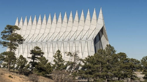 The Air Force Academy Chapel stands tall above the nearby ponderosa pine trees in Colorado Springs, Colo. (Dawn Y. Wilson/Air Force)
