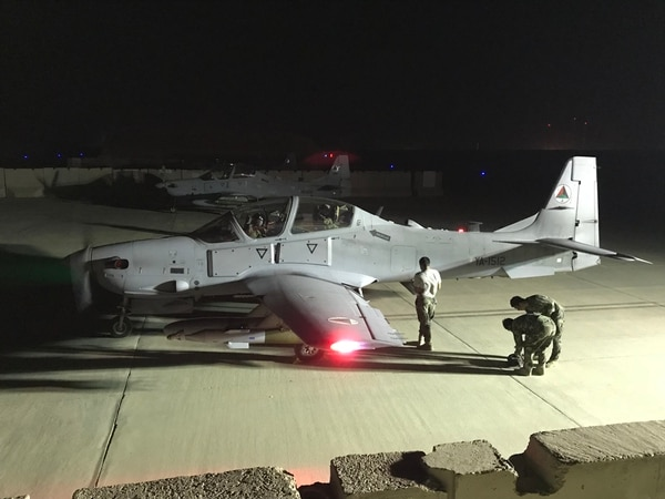 An A-29 taxis with a GBU-58 — a 250-pound laser guided bomb — after its first-ever night combat mission. (Resolute Support's TAAC-Air)