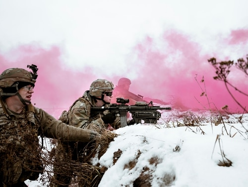Soldiers perform winter live-fire training at Bemowo Piskie training area, Poland, on Jan. 16. (Sgt Arturo Guzman/Army)