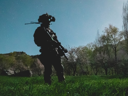 U.S. special operations service members conduct combat operations in support of Operation Resolute Support in Southeast Afghanistan in April 2019. (Sgt. Jaerett Engeseth/Army)