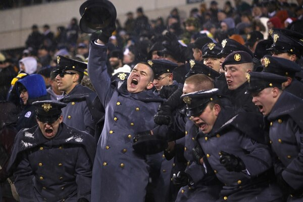 With snow falling, Army cadets celebrate during last year's 14-13 win over rival Navy. (West Point)