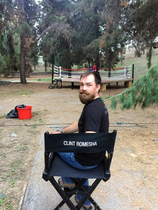 Clint Romesha on the set of