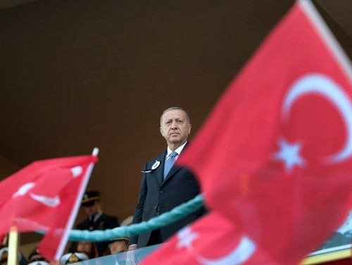 Turkey's President Recep Tayyip Erdogan attends a graduation ceremony of a military academy in Istanbul, Saturday, Aug. 31, 2019. (Presidential Press Service via AP, Pool)
