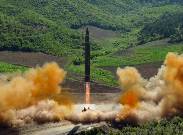 This file photo distributed by the North Korean government shows what was said to be the launch of a Hwasong-14 intercontinental ballistic missile, ICBM, in North Korea's northwest, Tuesday, July 4, 2017. (Korean Central News Agency/Korea News Service via AP)