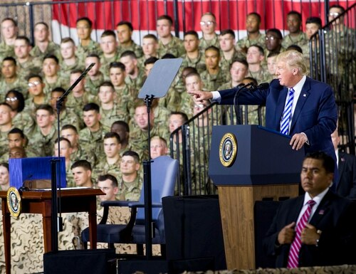 President Donald Trump speaks during an event at Fort Drum, New York, on Aug. 13. Trump has made national security a key talking point in his campaign trail speeches this fall, but many candidates have not. (Sgt. Thomas Scaggs/Army)