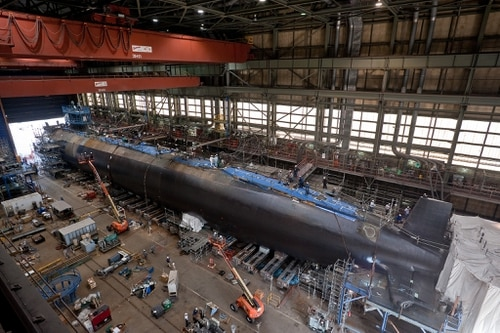 The Virginia-class attack submarine Pre-Commissioning Unit (PCU) Minnesota (SSN 783) is under construction on Oct. 5, 2012, at Newport News Shipbuilding in Newport News, Va. (Chris Oxley/Navy)