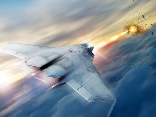 Lockheed Martin is helping the U.S. Air Force Research Laboratory develop and mature high-energy laser weapon systems, including the high-energy laser pictured in this rendering. (Courtesy of the Air Force Research Laboratory and Lockheed Martin)