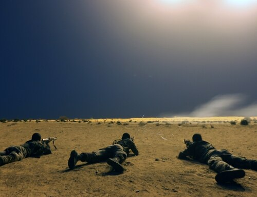 Nigerien soldiers shoot targets under as a part of Exercise Flintlock 2017 in Diffa, Niger, on March 9, 2017. (Staff Sgt. Kulani Lakanaria/U.S. Army)