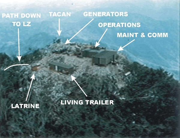The LS-85 mountaintop area included radar shelters with antennas and interior equipment, a helicopter landing zone, a CIA airstrip and a command post. (Wikipedia commons)
