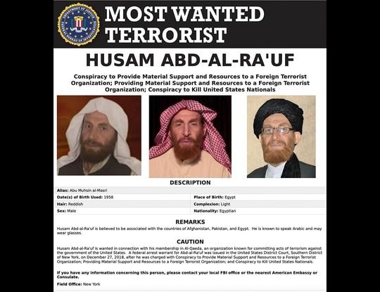 This image released by the FBI shows the wanted poster of al-Qaida propagandist Husam Abd al-Rauf, aka Abu Muhsin al-Masri. (FBI via AP)