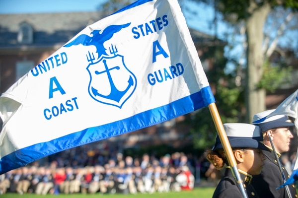 Cadets at the U.S. Coast Guard Academy in New London, Conn., take part in the Academy Homecoming Weekend Corps of Cadets Regimental Review, Oct. 12, 2018. (3rd Class Cadet Jordan Park/Coast Guard)