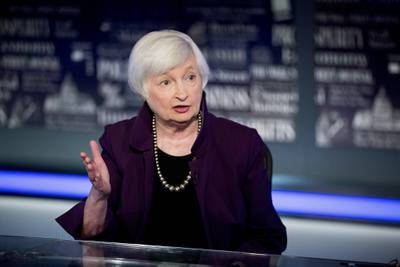 In this Aug. 14, 2019, file photo former Fed Chair Janet Yellen speaks with FOX Business Network guest anchor Jon Hilsenrath in the Fox Washington bureau in Washington.