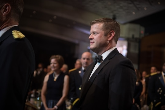 Secretary of the Army Ryan McCarthy attends the George C. Marshall Dinner during the Association of the United States Army's 2019 Annual Meeting in Washington, D.C., in October 2019 2019. (Sgt. Dana Clarke/Army)
