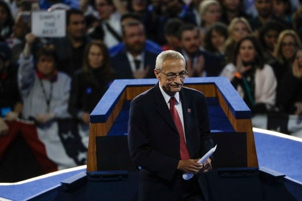 In this Wednesday, Nov. 9, 2016 file photo, John Podesta, Hillary Clinton campaign chairman, walks off the stage after announcing that Clinton will not be making an appearance at Jacob Javits Center in New York as the votes were still being counted. (Matt Rourke/AP)