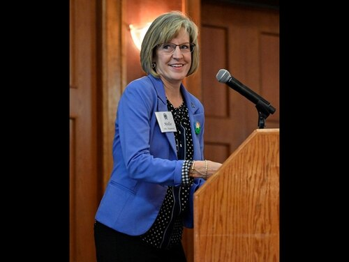 Mollie Raymond, senior Space Force spouse, spoke in March at summit for senior spouses that addressed issues such as spouse employment, COVID-19, and family services. (Air Force)