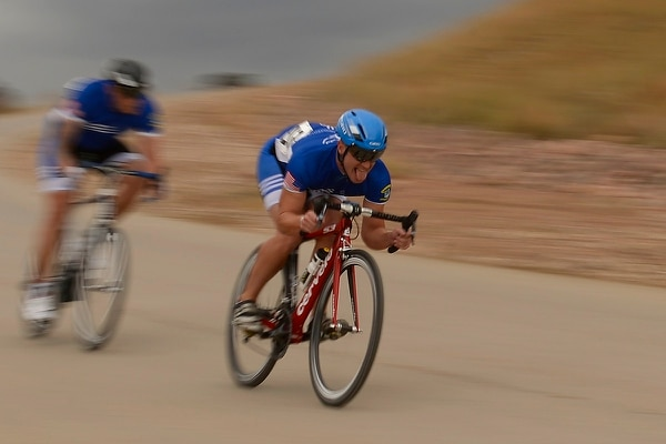 Air Force veteran Mitchell Kieffer participates in a cycling race during the 2014 Warrior Games at Fort Carson, Colo. (Tim Chacon/Air Force)