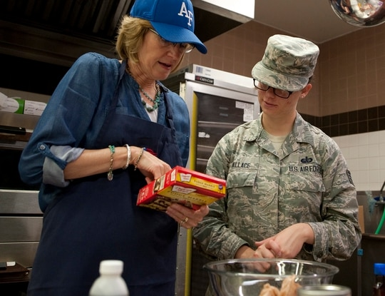 """Mollie Raymond, left, is the wife of newly appointed Space Force Chief Gen. John """"Jay"""" Raymond, making her the first — and only — military spouse in the sixth branch of the military. (Staff Sgt. Emily Kenney/Air Force)"""