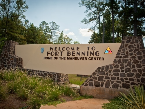 A welcome sign at Fort Benning in Georgia, one of several Army locations named for a former Confederate leader. (John D. Helms/Army)