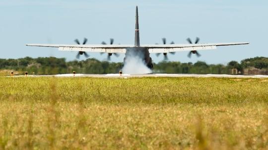 A U.S. Air Force C-130J Super Hercules lands at Camp Simba, Kenya, Aug. 26, 2019. (Staff Sgt. Devin Boyer/Air Force)