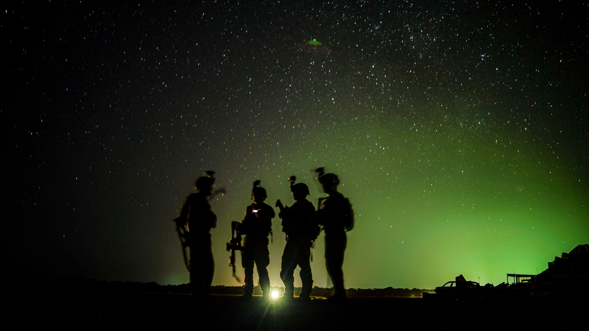 U.S. soldiers from the 101st Airborne Division standby for their night guard shift in east Africa, Kenya, Jan. 20, 2020. (Staff Sgt. Shawn White/Air Force)